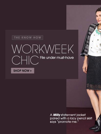 "THE KNOW HOW WOKWEEK CHIC File under must-have SHOP NOW  A Milly statement jacket paired with a lacy pencil skirt says ""promote me."" This luxe leather layer works wonders with soft Isabel Lu pants (the thicker knit is perfect for the office)."