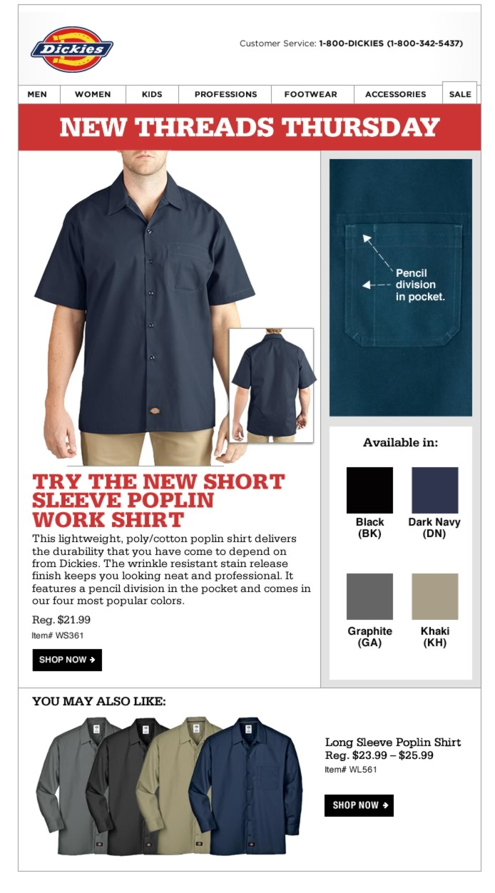 New Threads Thursday: Short Sleeve Poplin Work Shirt. This lightweight, poly/cotton poplin shirt will keep you looking neat and professional at all times.
