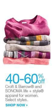 40-60% off Croft & Barrow® and SONOMA life + style® apparel for women. Select styles. shop now