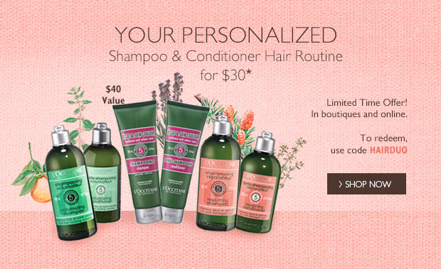 Your Personalized Shampoo & Conditioner Hair Routine for $30* Limited Time Offer! To redeem, use code HAIRDUO