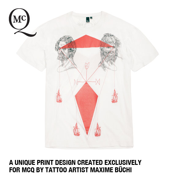 A unique print design created exclusively for McQ by Tattoo artist Maxime Büchi