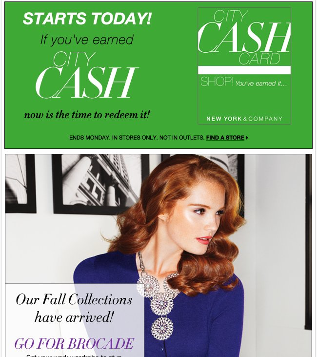 STARTS TODAY: Redeem your City Cash! Find a Store!