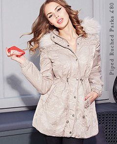 Piped Ruched Parka