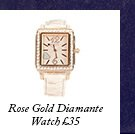 Rose Gold Diamante Watch