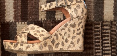 Leopard Burlap Women's Strappy Wedges