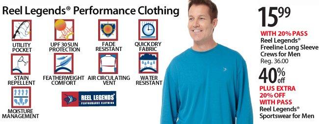 Reel Legends $15.99 Freeline Long Sleeve Crew plus 40% off Sportswear for men