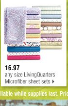 16.97 any size LivingQuarters Microfiber sheet sets