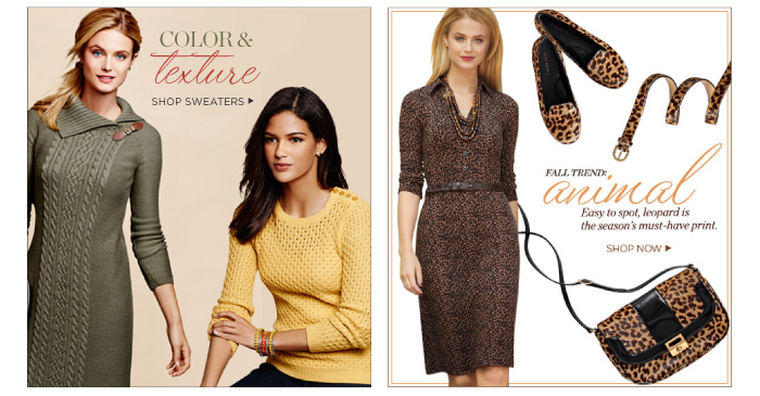 Color and Texture. Shop Sweaters. Fall trend: animal. Easy to spot, leopard is the season's must-have print. Shop now.