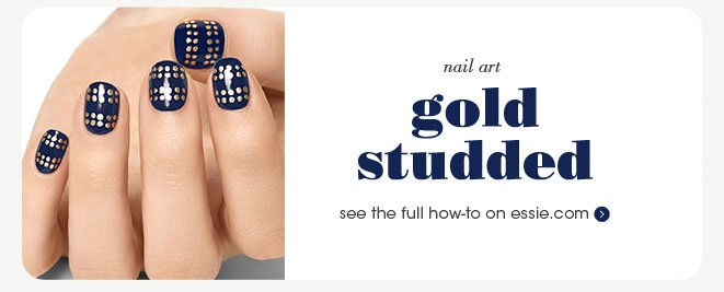nail art: gold studded see the full how-to on essie.com»