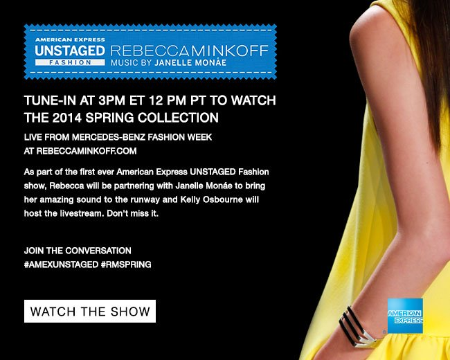 Watch the Rebecca Minkoff Spring 2014 Runway Show with Music by Janelle Monae, Hosted by Kelly Osbourne