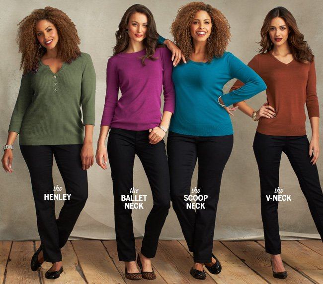 The Henley. The Ballet Neck. The Scoop Neck. The V-Neck.