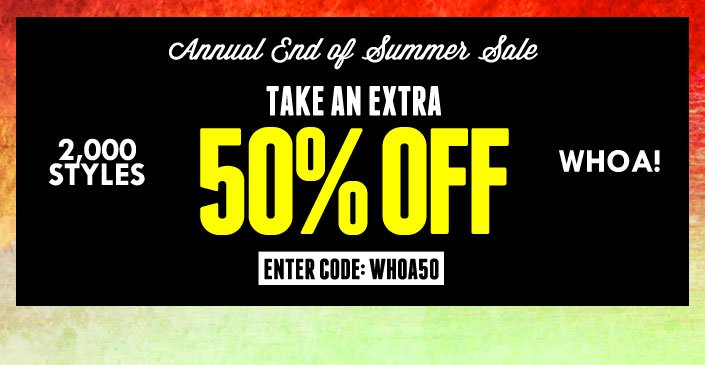 Click to shop at an extra 50% off