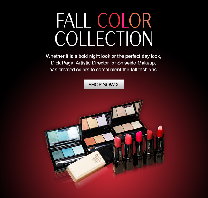 Fall Color Collection: Whether it is a bold night look or the perfect day look, Dick Page, artistic director for Shiseido makeup, has created colors to compliment the fall fashions.
