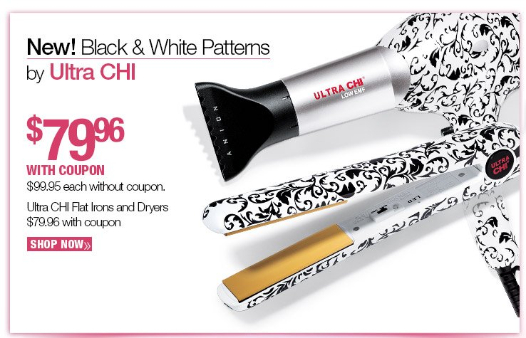 NEW Black and White Pattern Hair Tools by Ultra CHI $79.96 with coupon $99.95 without coupon. SHOP NOW