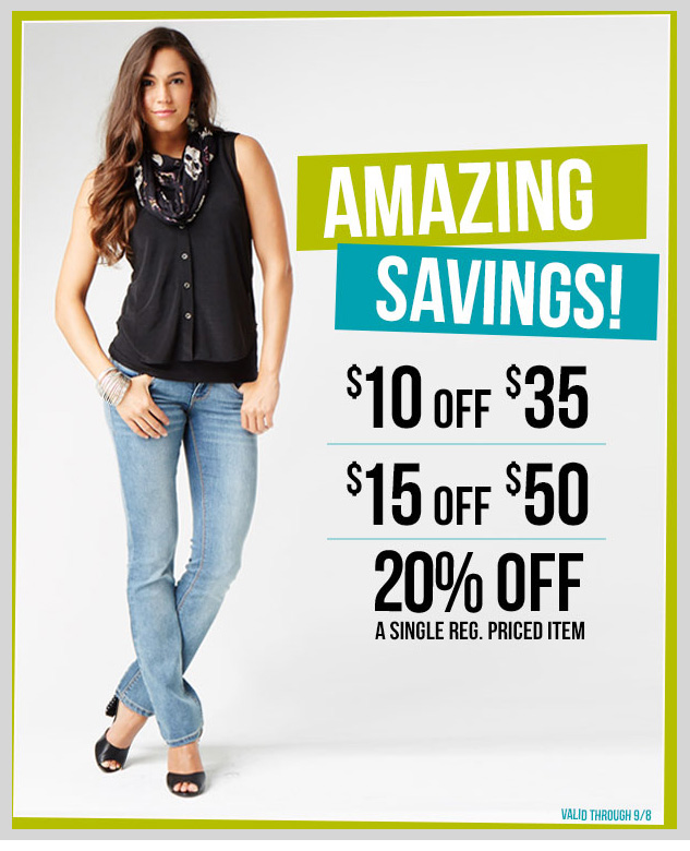 2 DAYS LEFT! AMAZING SAVINGS! $15 off $50. $10 off $35. 20% OFF a Single Regular-Priced Item. In-store and online! SHOP NOW!