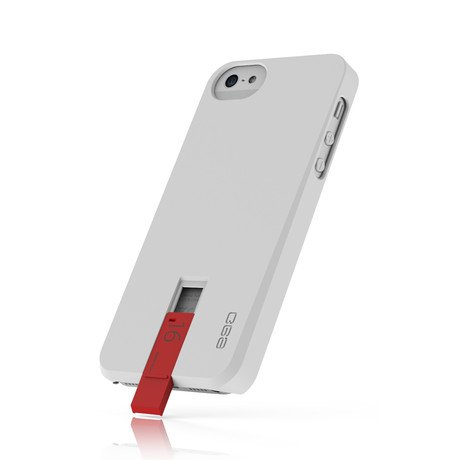 Hybrid USB Case for iPhone 5 // White & Red
