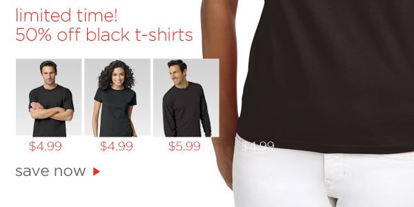 50% off Black T-Shirts