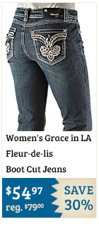 Womens Grace in LA Fleur de lis Boot Cut Jeans on Sale