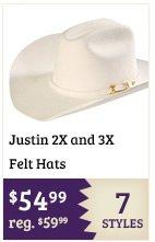 Justin 2X and 3X Felt Hats