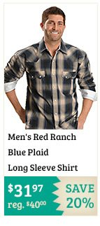 Mens Red Ranch Blue Plaid Long Sleeve Shirt on Sale