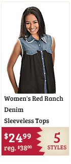Womens Red Ranch Denim Sleeveless Tops on Sale
