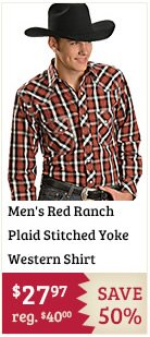 Mens Red Ranch Plaid Stitched Yoke Western Shirt on Sale