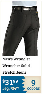 Mens Wrangler Wrancher Solid Stretch Jeans on Sale