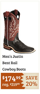 Justin Bent Rail Cowboy Boots on Sale