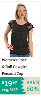 Womens Rock and Roll Cowgirl Peasant Top on Sale