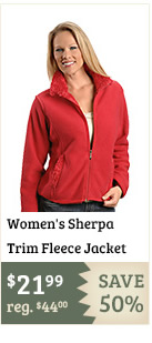Womens Sherpa Trim Fleece Jacket