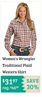 Womens Wrangler Traditional Plaid Western Shirt on Sale