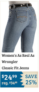 Womens As Real As Wrangler Classic Fit Jeans on Sale