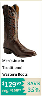 Mens Justin Traditional Western Boots on Sale