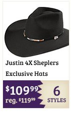 Justin 4X Sheplers Exclusive Hats
