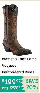 Womens Tony Lama Vaquero Embroidered Boots on Sale