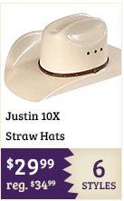 Justin 10X Straw Hats