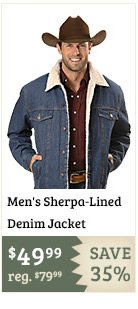 Mens Sherpa Lined Denim Jacket
