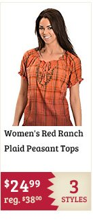 Womens Red Ranch Plaid Peasant Tops on Sale