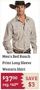 Mens Red Ranch Print Long Sleeve Western Shirt on Sale