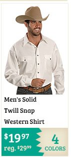 Mens Solid Twill Snap Western Shirt on Sale