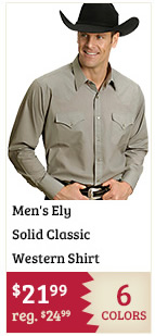 Mens Ely Solid Classic Western Shirt on Sale