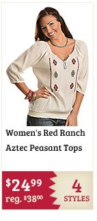 Womens Red Ranch Aztec Peasant Tops on Sale