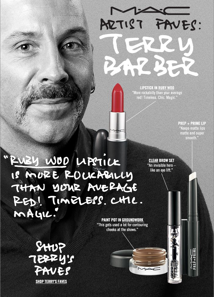 """""""Ruby Woo Lipstick is more rockabilly than your average red! Timeless. Chic. Magic."""" Shop Terry's Faves"""