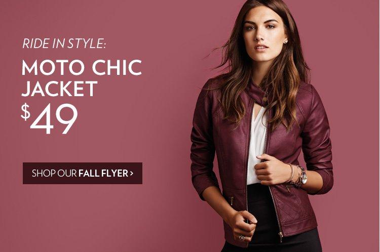 Moto chic jacket: $49.