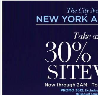 Enjoy an EXTRA 30% OFF sitewide, tonight only! Log on NOW!