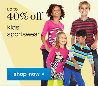 Up to 40% off kids sportswear. Shop now.