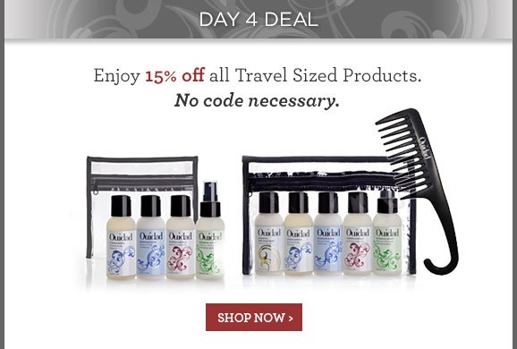 Enjoy 15% off all Travel Sized Products. No code necessary.