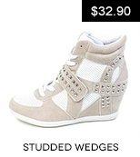Studded Sneaker Wedges