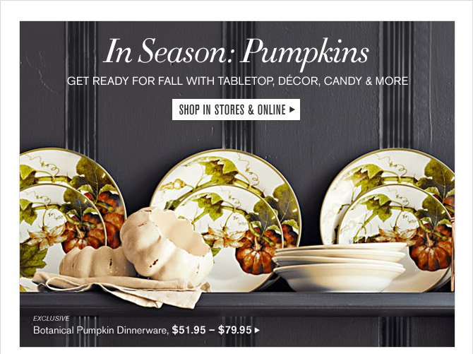 In Season: Pumpkins - GET READY FOR FALL WITH TABLETOP, DECOR, CANDY & MORE - SHOP IN STORES & ONLINE