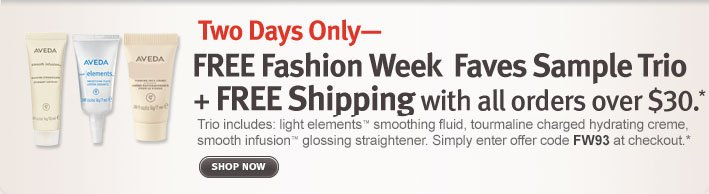 two days only: free fashion week faves sample trio and free shipping with all orders over $30